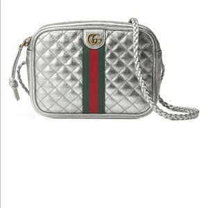 Quilted Metallic Leather Crossbody Bag